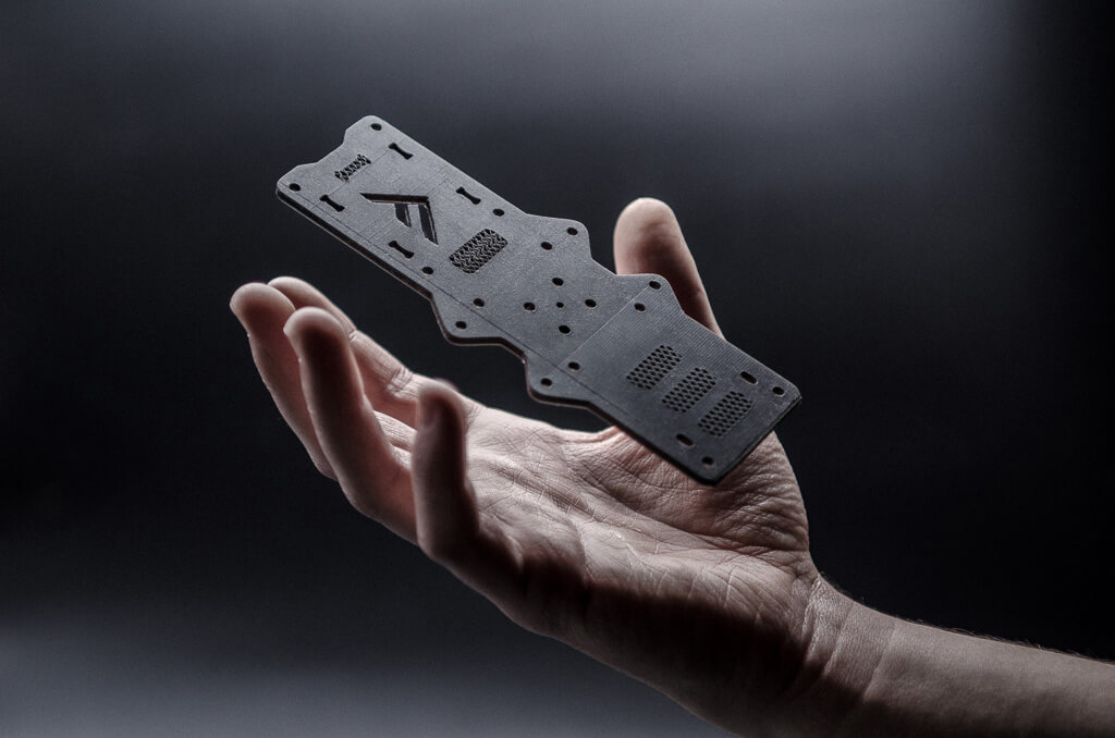 Fortify Carbon Fiber Aerospace Part in Hand